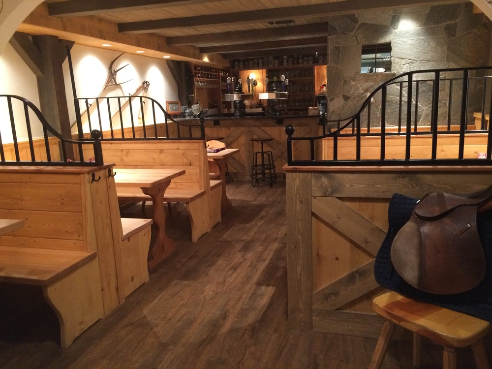 "The new ""barn"" section of the restaurant."