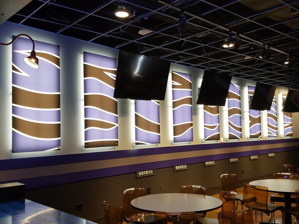 Backlit acrlic panels, Liberty Bowl media room; Memphis, TN | Image: DH