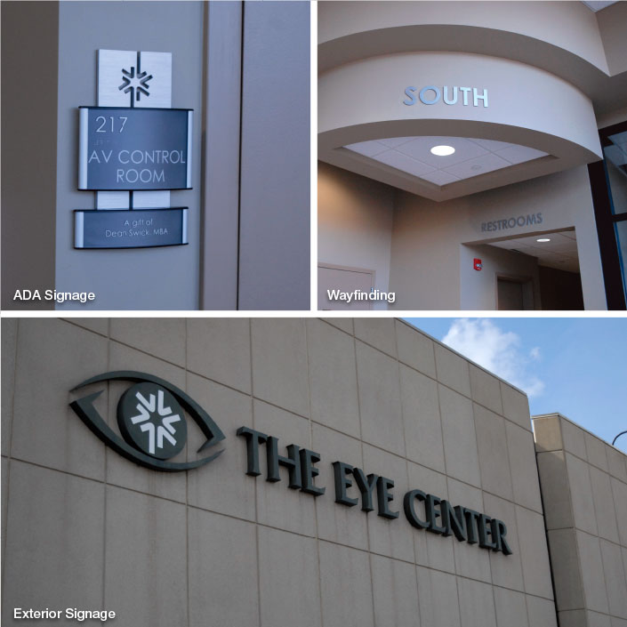 Exterior Signage and Way Finding; Southern College of Optometry, Memphis, TN; photo: Kristen Coles