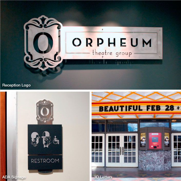 Interior Signage and Dimensional Letters; Orpheum Theater, Memphis, TN; photo: Kristen Coles