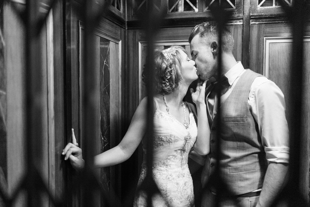 Black and White Wedding Kiss Photo