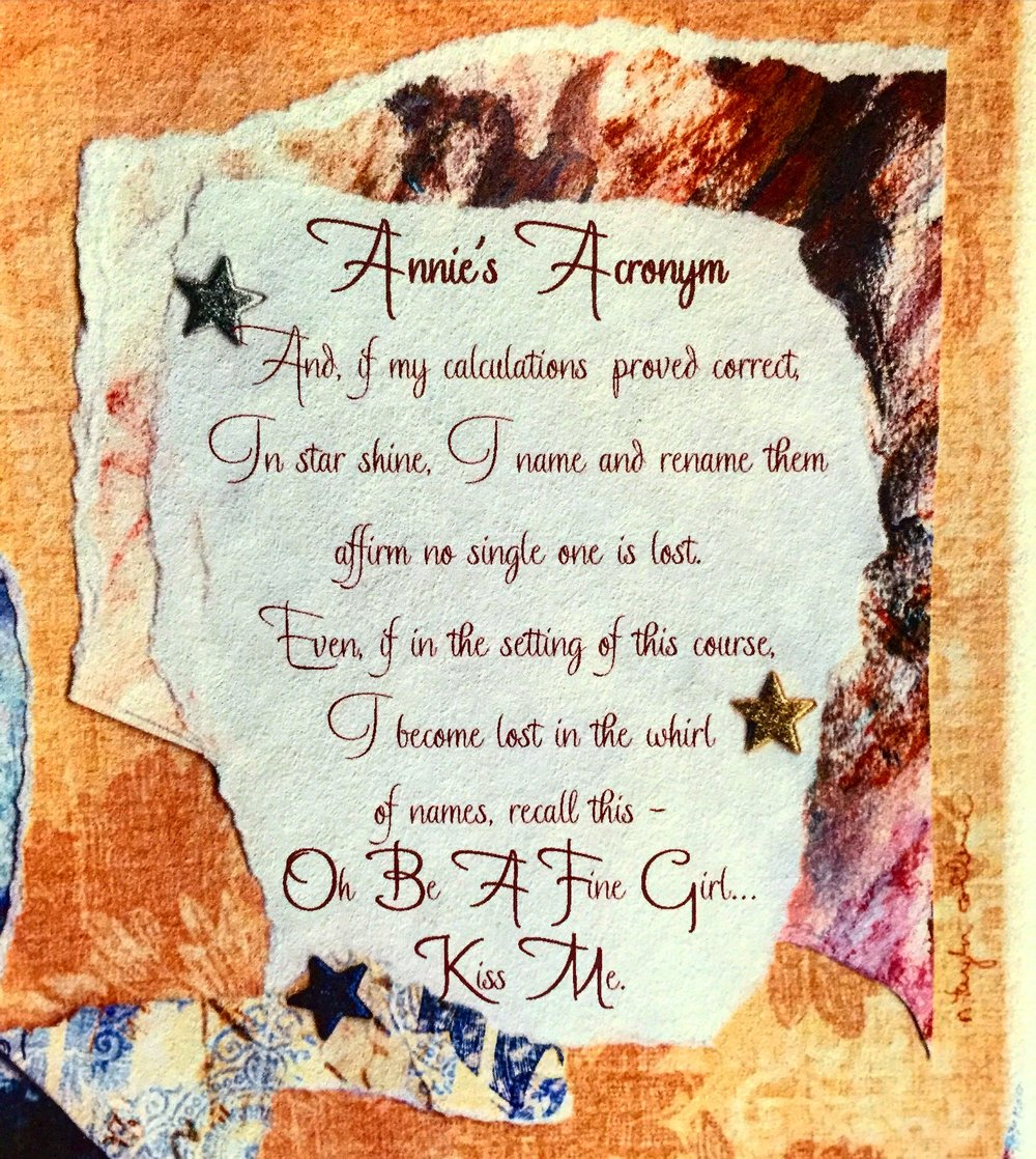 The stars inspire those in the arts - words, music, dance, paintings. All things creative dancing in a midnight sky. - Poem by Taylor Collins read at Annie's grave in the first birthday celebration celebrating her birth.