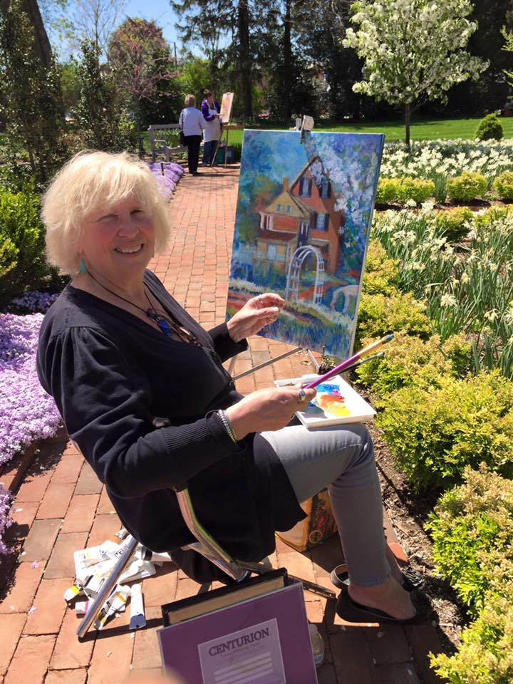 Taylor is in her element plein air painting at local Delaware landmarks.  Shown here at Woodburn.