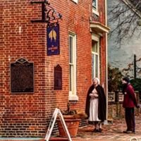 The Sign of The Golden Fleece and the commemorative markers. Stand where the USA began. .Free Walking Tours originate across The Green at the John Bell House.