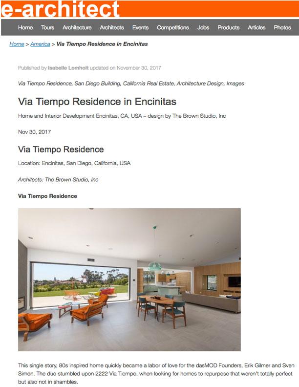 E-ARCHITECT | DECEMBER 12, 2017  Via Tiempo Residence in Encinitas.
