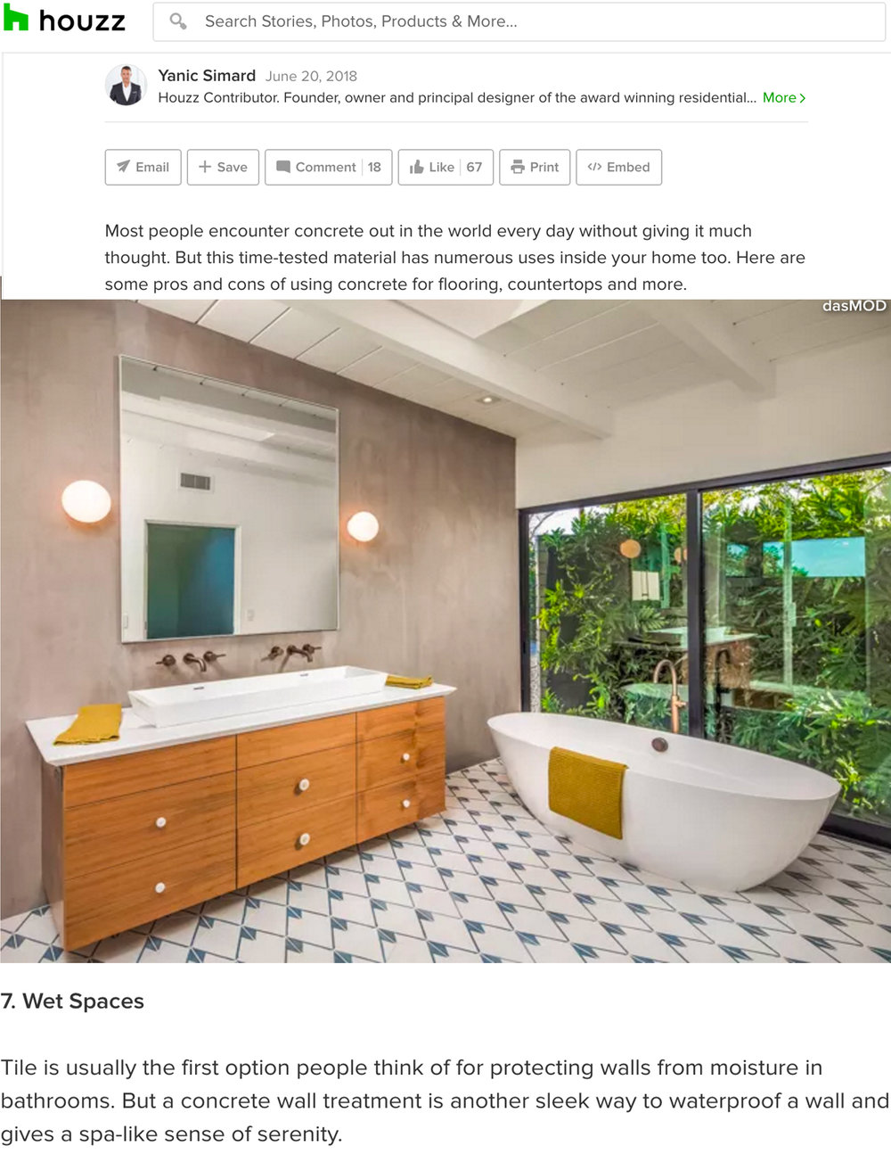 HOUZZ | JUNE 20, 2018  10 Solid Ways to Feature Concrete in Your Home.