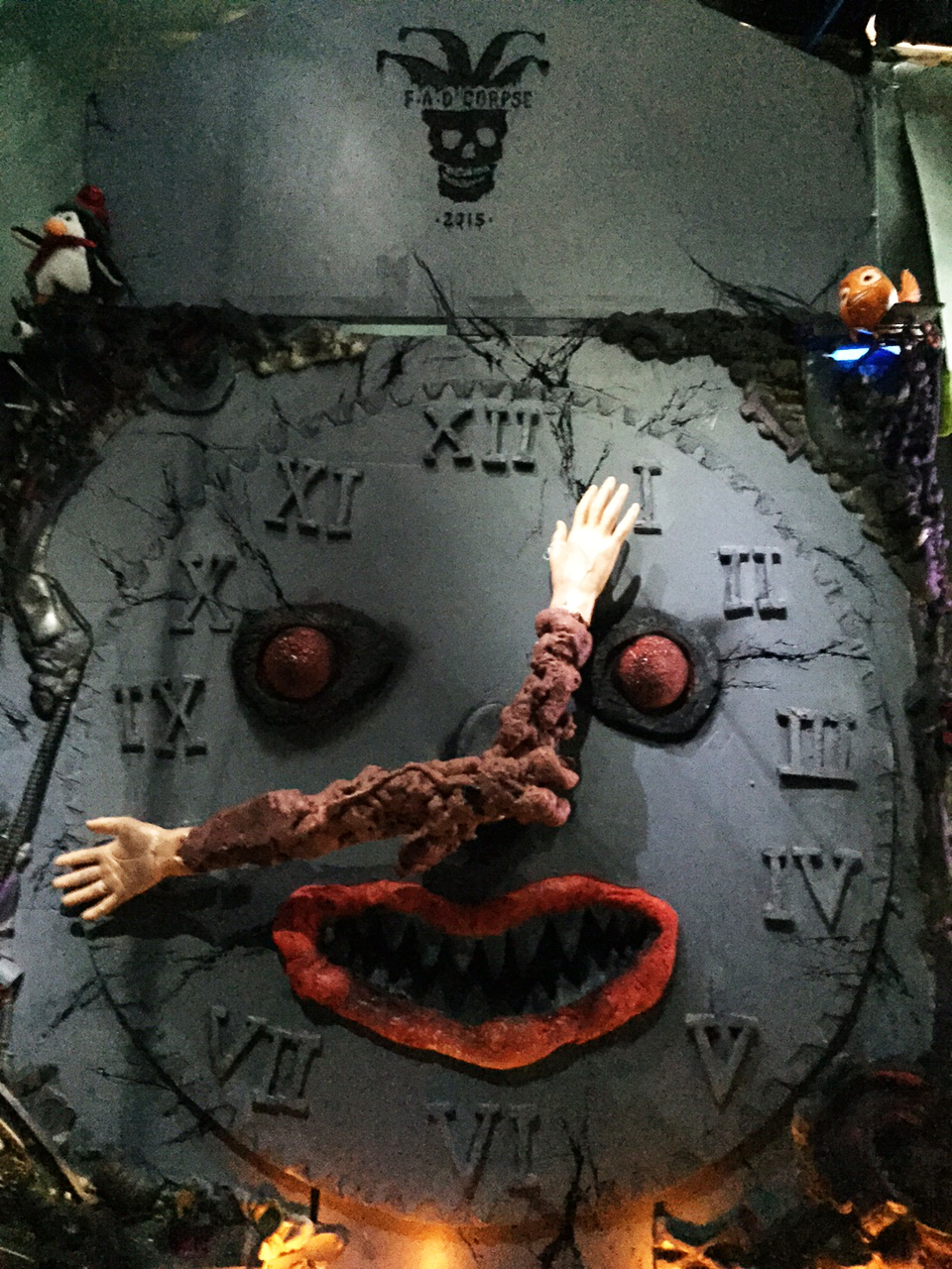 FAO CORPSE CLOCK, 96 X 60 X 40in, mixed media, 2015, front view (detail )