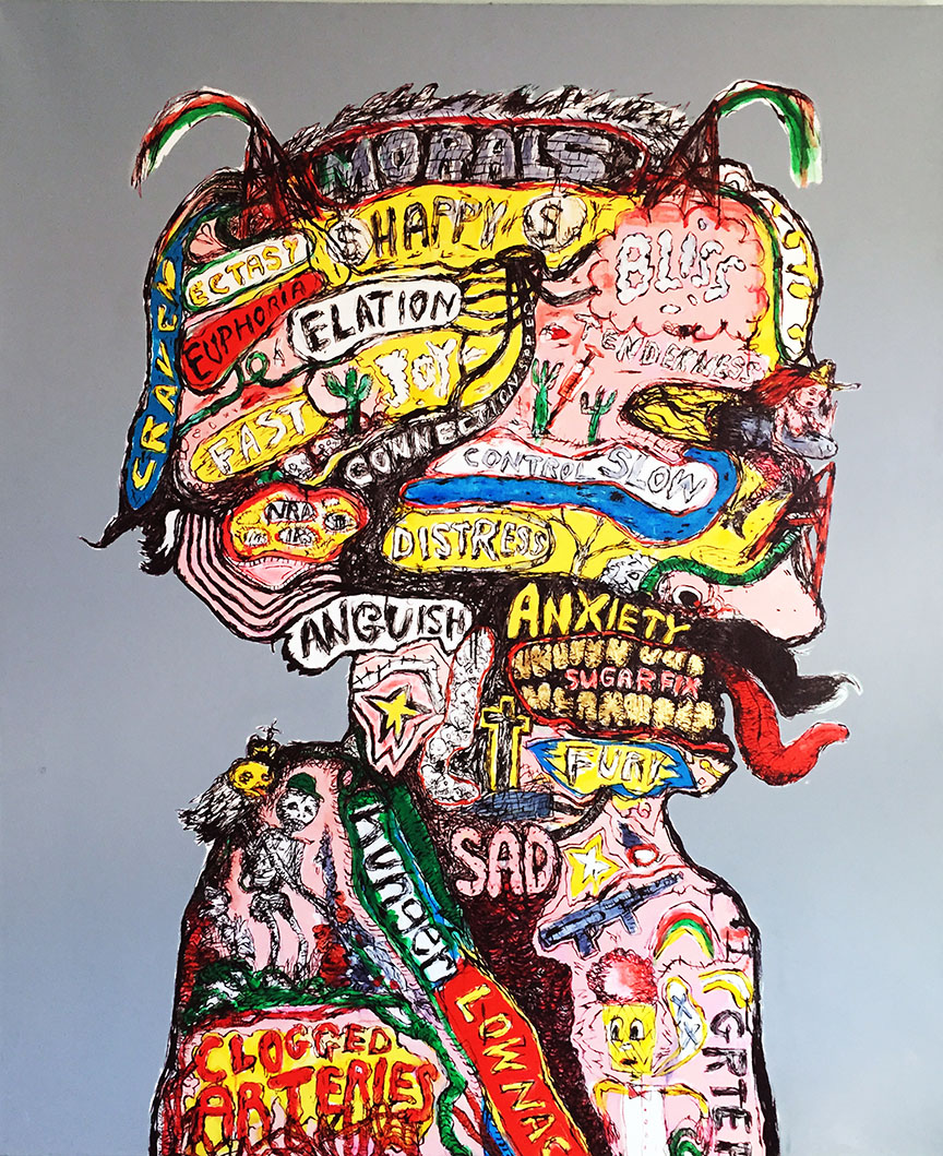 The Phrenologist, Acrylic on Canvas, 64 x 53in, 2014