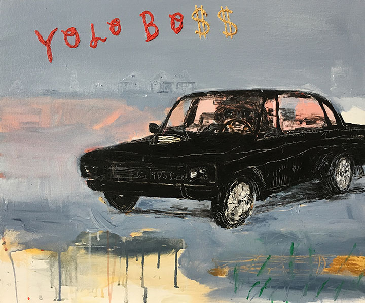 Yolo-Bo$$, Acrylic on Canvas, 24in x 30in, 2017