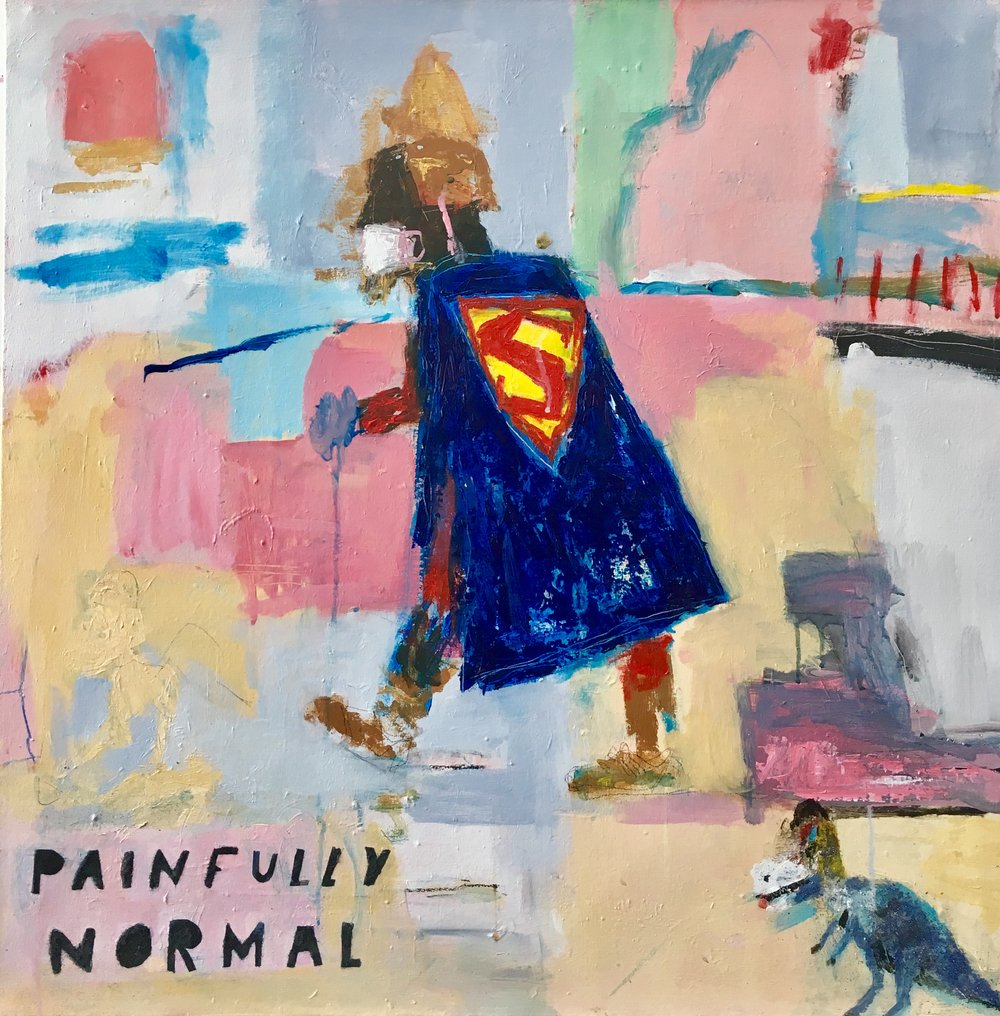 Painfully Normal, Acrylic on Canvas, 30 x 30in, 2017