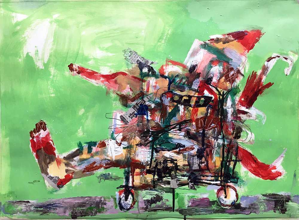 Softie Cart, acrylic on canvas, 18 x 24in, 2018