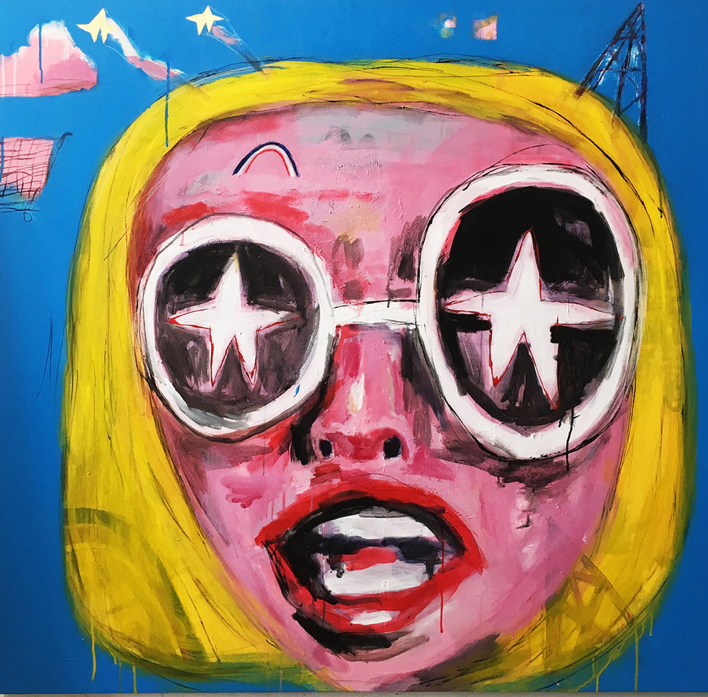 Glam Girl, acrylic on canvas, 50 x 50in, 2017