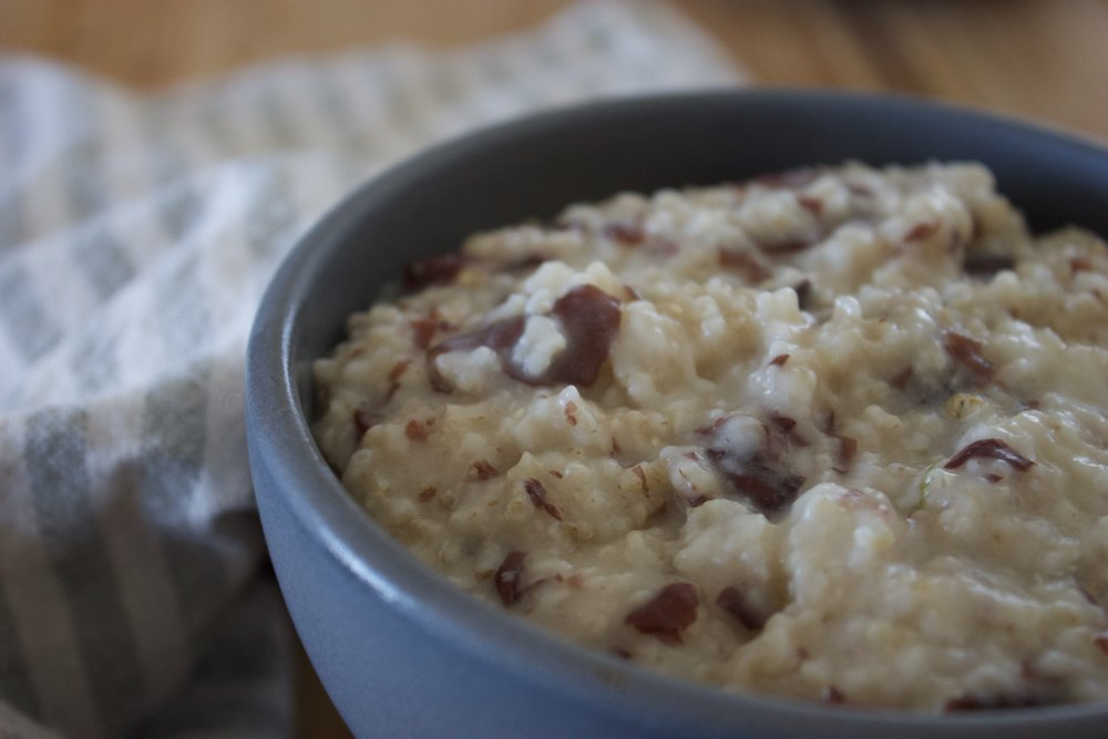I added pieces of dulse to oatmeal.  It adds a bit of a salt flavor and packs more mineral and fiber into your porridge.