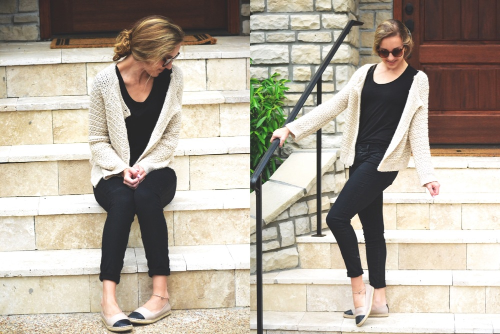 sweater: an italian boutique; black tee: fabletics; black jeans: [blank nyc]; shoes: aldo
