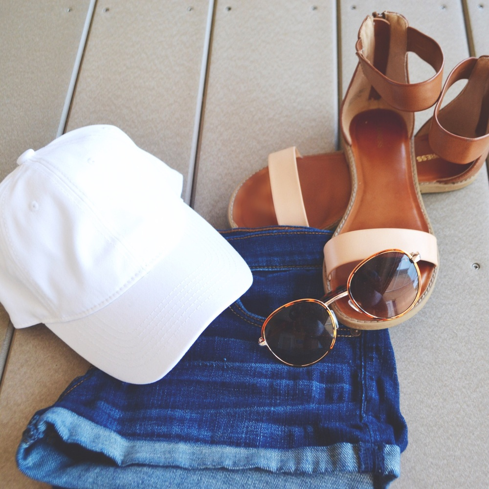 hat: target; shorts: abercrombie and fitch; shoes: express; sunglasses: urban outfitters