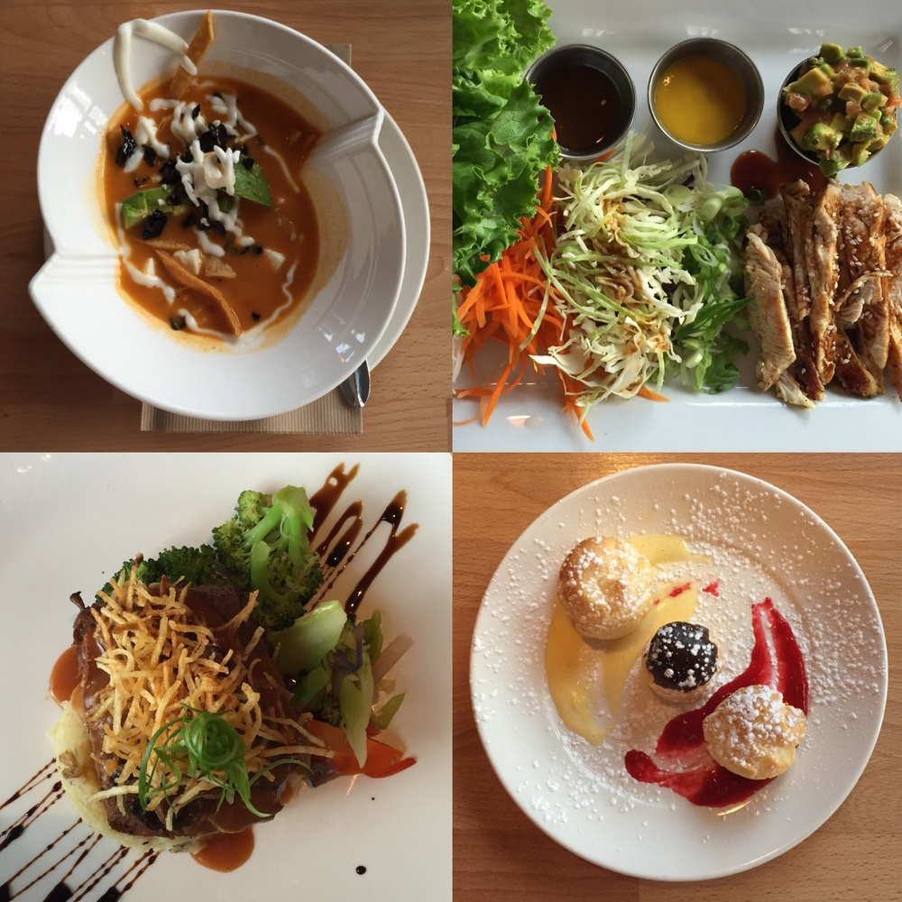 top left: tortilla soup; top right: lettuce wraps; bottom left: meatloaf; bottom right: creme puffs