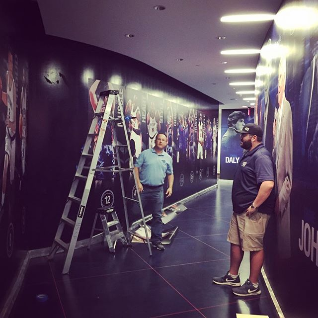 Basketball season is almost here! At the Palace today updating some locker room graphics. #goingtowork #detroit #pistons
