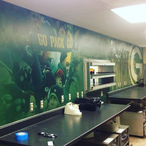 Getting ready for the game this weekend! New Packers wall mural....done. #packers #greenbay #wi #weavermedia