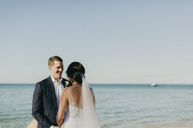 What's there not to smile about when you're saying your vows to the one you love on a beautiful beach?! 📷 by @aimeeclaireweddings in Margaret River, WA