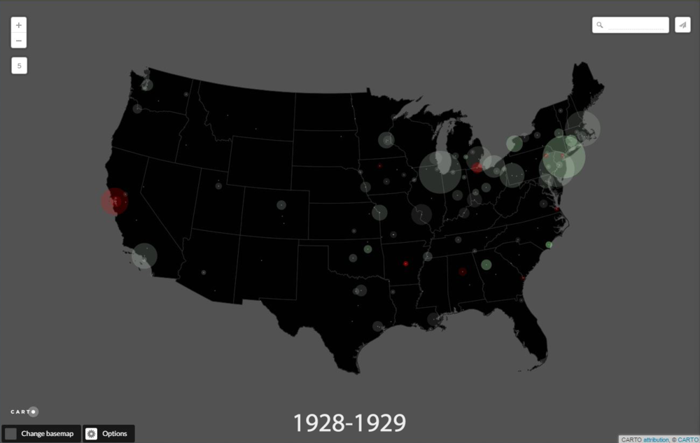 Using Federal Reserve reports since 1919, we are mapping aggregate debits (cash in and out) of all banks monitored by the Fed in cities deemed significant enough to track. Collected as a rough way to track economic activity, the maps will quite literally follow the money as capital flows throughout the 20th c. United States. In the screen shot above, most cities are still enjoying the roaring twenties: green indicates relative gain against the previous year's performance; red indicates decline. The size of the circle indicates total amount of capital, while the relative opacity suggests degree of change (more opaque the greater the change). Click   here   to scroll through the opening years of the project, beginning with the post-WWI recession (when a federal investment in a new deep water port near Houston triggered the only uptick in economic activity), through the 1920s, and up to the onset of the Great Depression.