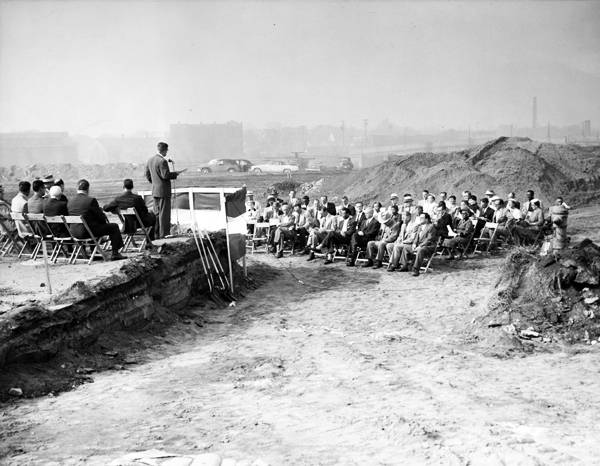 Cleveland, Ohio's civic elite at a 1955 ground breaking for a federally funded public housing project, the Woodhill Homes. Construction of the housing project enabled the city's public and private leadership to use the powers of eminent domain to evict disproportionately minority homeowners and tenants from properties considered ripe for commercial redevelopment.  (Image from CSU's Cleveland Memory Project)