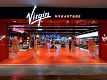 Virgin Megastore - so much red that you instantly felt aggressive and headed right for the death metal.