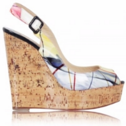 Slip your sneakers out and step into these Christian Louboutin multi-colored wedges for a brunch in an exotic city!