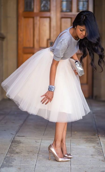Tulle skirts were made to bring out the Princess in you, but you can always remain to your tom-boy side and pair them all-white sneakers instead of sparkly scarpins