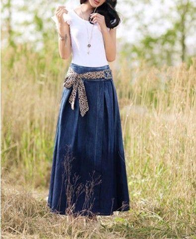 Go basic or wild with Denim Maxi skirt