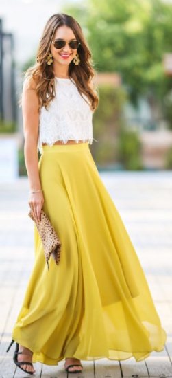 Solid Maxi skirt with a lacy crop top