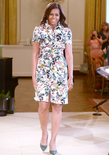 For the 2015 Kids' State Dinner held at the White House, she picked a botanical-print Carolina Herrera shirt-dress and matching suede pumps