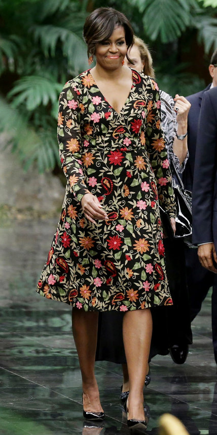 Wearing a fully embroidered floral dress by Naeem Khan for a state dinner with Cuban President Raul Castro at the Palace of the Revolution in Havana