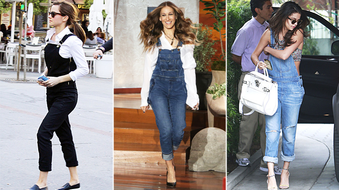 Let's start with our fav celebrities- Emma Watson in black and white combi paired with black espridalles, Jessica Parker in a basic pair of blue denim overalls and black heels, Selena Gomez in distressed denim overalls paired with a sports bra and strappy heels.