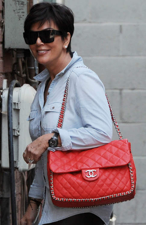 Kris Jenner with Chanel Chain Trim Flap Bag