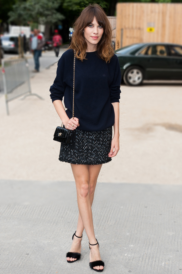 Alexa Chung wearing Chanel tweed skirt with a navy blouse