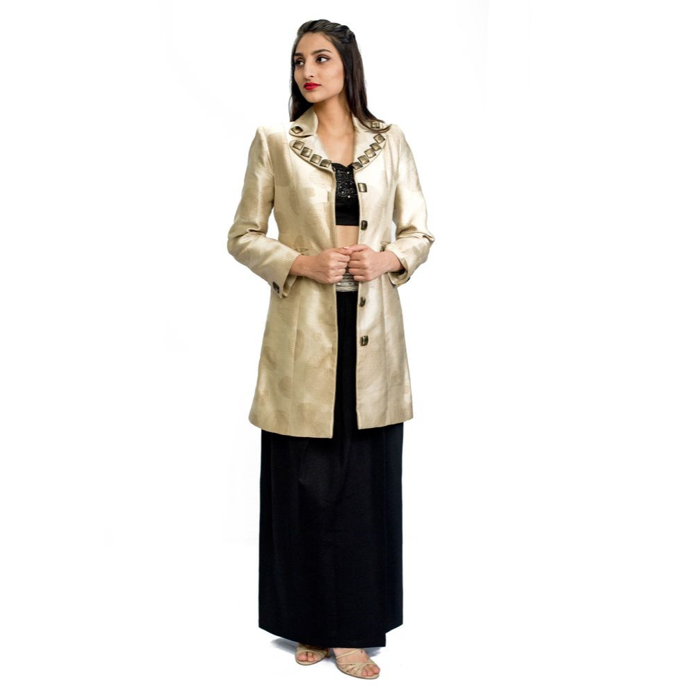 Firstly, the classic golden and black combi works at every occasion. You can break the monotony by adding the most trending and loved item- an ethnic jacket! This one's by Nalandda Bhandari. Personally, fave layering item!