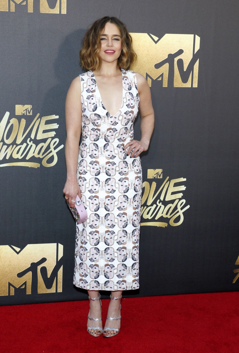 Emilia Clarke in Miu Miu dress during the 2016 MTV Movie Awards