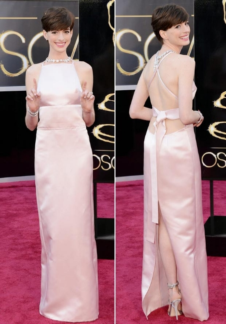 Anne Hathaway in Prada during Oscars 2013