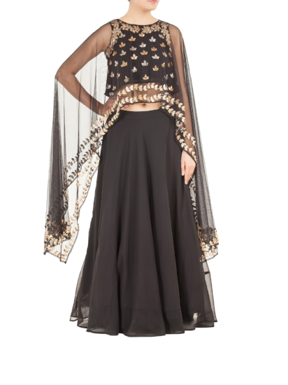 A black net lehenga with gota patti embroidered cape top. Georgette and net - By Esha Koul