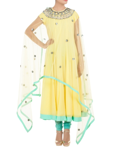 Featuring a long asymetrical embellished net cape, this lemon yellow anarkali kurta comes with a pastel blue churidaar - By Manish Arora