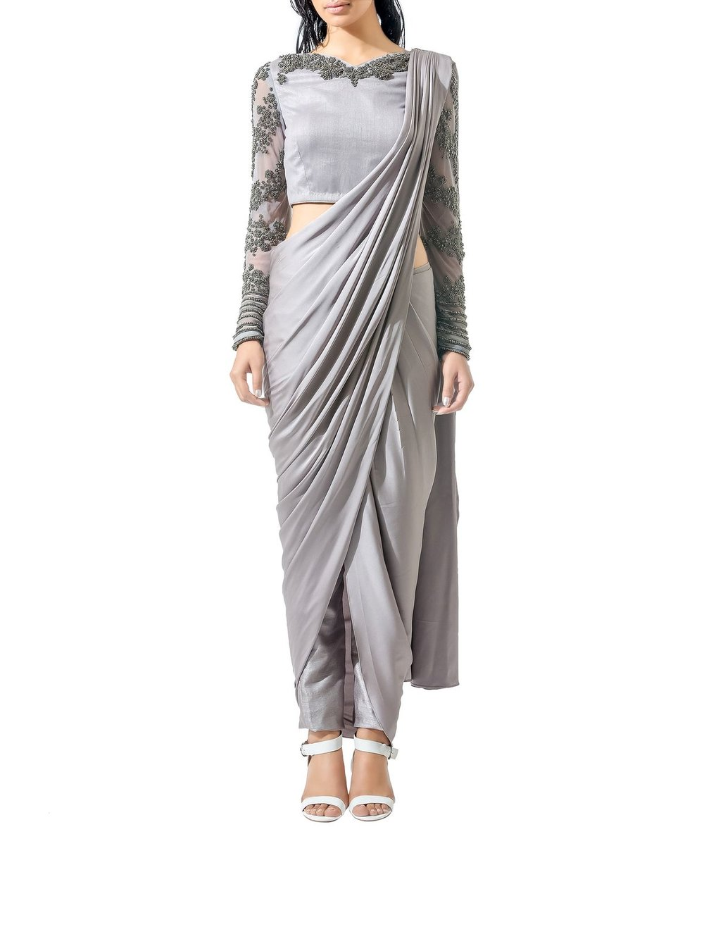 Bhaavya Bhatnagar Grey Beaded Three Piece Sari Set