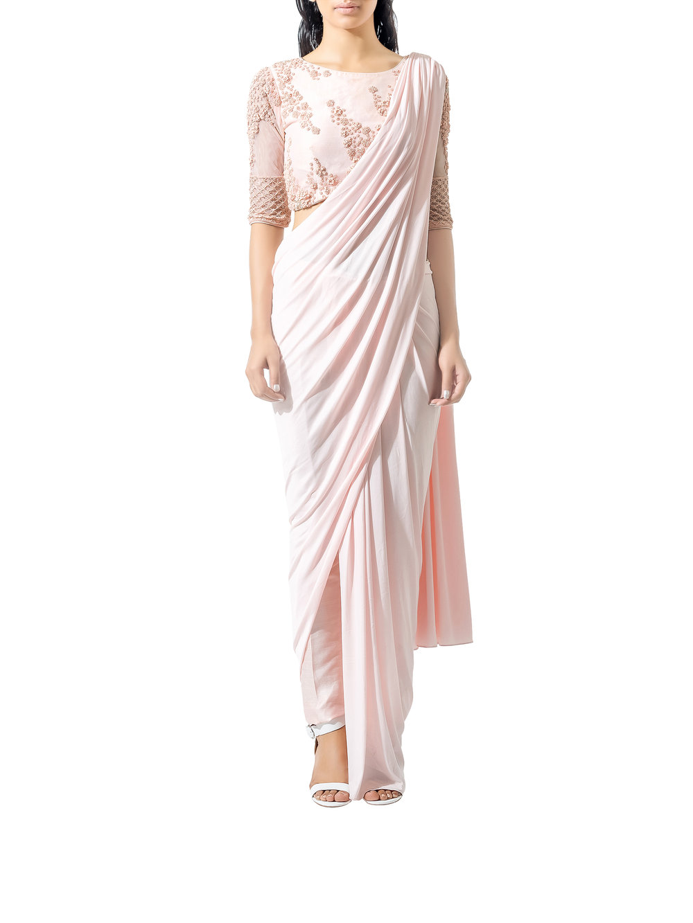 Bhaavya Bhatnagar Blush Beaded Three Piece Sari Set