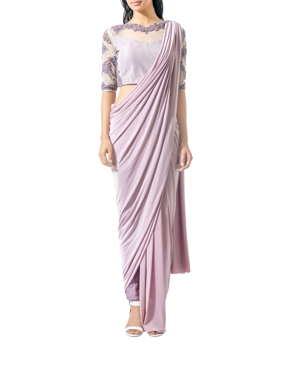 Bhaavya Bhatnagar Mauve Beaded Three Piece Sari Set