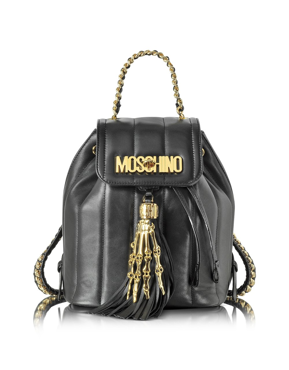Moschino Black Nappa Backpack