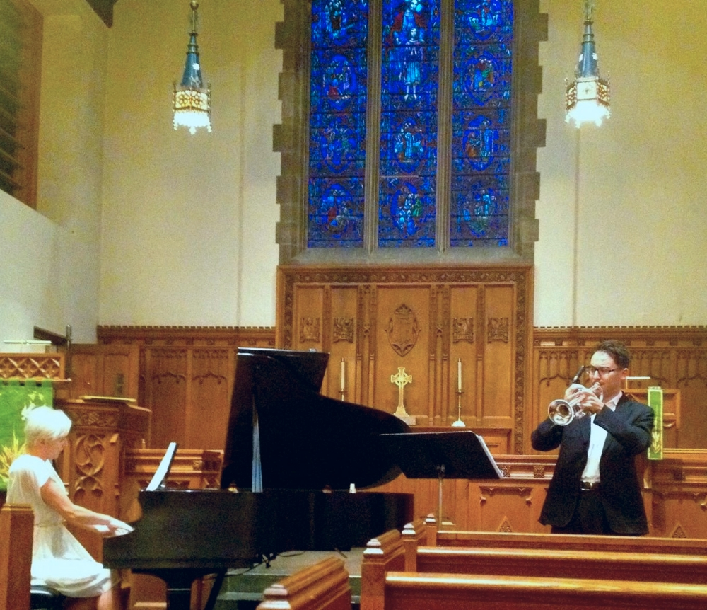 photo from Arda Cabaoglu's Lecture Recital performing with Dr.Ksenia Leletkina
