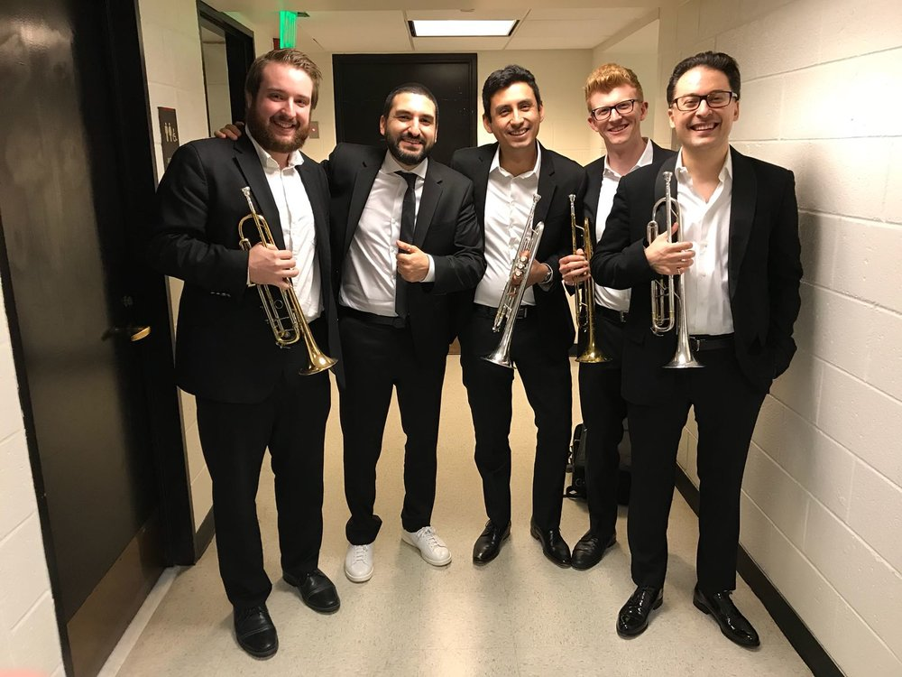 right to left: Arda Cabaoglu, Jonathan Heim, Alejandro Lopez, Ibrahim Maalouf, and Sam Jones