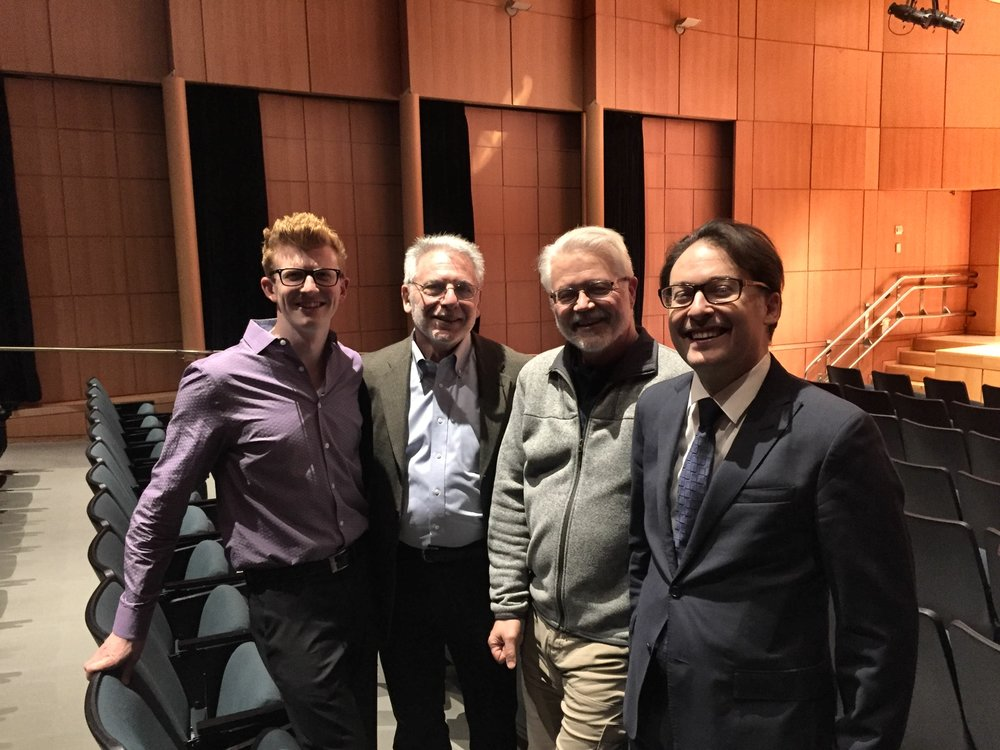 Jonathan Heim, Raymond Mase, David Sampson, and Arda Cabaoglu after the Performance of David Sampson's Breakaway for Two Trumpets and Electornics, March 12, 2018 CUNY New York City.JPG