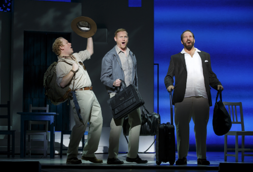 As Bill Austin with (L to R) Chad W. Fornwalt and Andrew Tebo in the MAMMA MIA! North American Tour, Photo by Joan Marcus, 2015