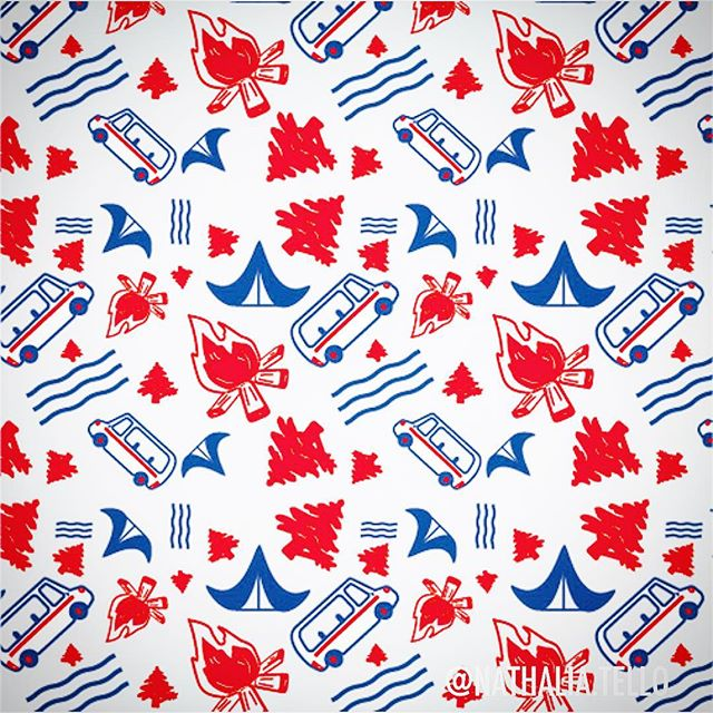 Happy 4th of July!! ⛺️🎆 This pattern is made with icons I designed for another project (I'll be showing that soon). They felt perfect for this day, maybe go camping with some friends. How are you spending your 4th of July? #camping⛺ #4thofjuly #illustrator #patterndesign #nathaliatello