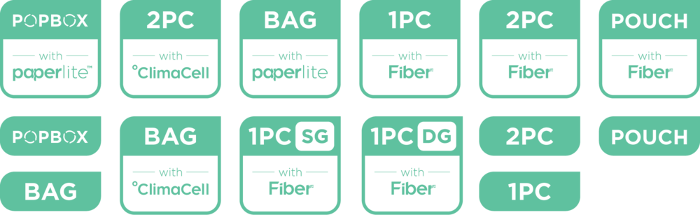 With so many product SKUs using different materials, TemperPack needed a standardized product labeling approach. The rounded square mark denotes the form factor as well as the material utilized.
